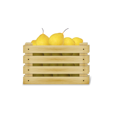 safekeeping: Vector illustration of a wooden box with yellow pears. Isolated on white background.