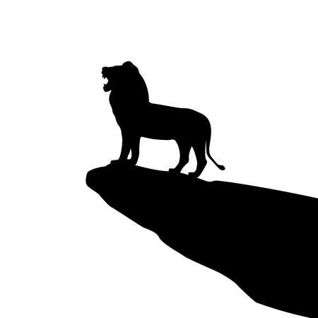 bellow: Vector illustration of isolated lion silhouette on the rock. Isolated on white background. Roaring Lion. Illustration