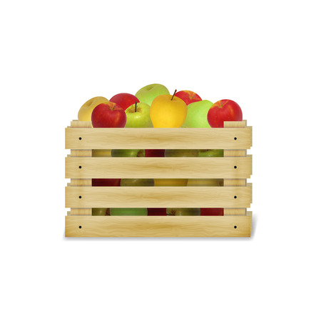 greengrocery: Vector illustration of a wooden box with colorful apples. Isolated on white background. Illustration