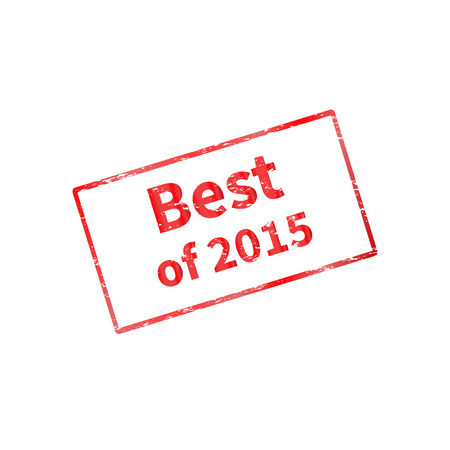illustration of a red stamp with frame. The best of last year, 2015. Isolated on a white background.