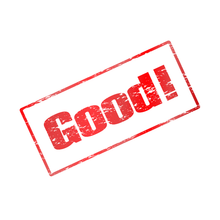 benign: illustration of a red stamp is good with an exclamation point and a frame around.
