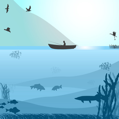 loch: illustration of a silhouette of a fisherman in a boat on a wild lake. Blue background. Fishing on the wild lake.