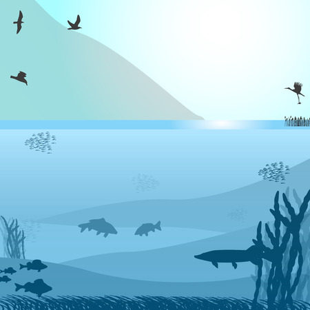 illustration of a lake with fish and birds near the mountain. Blue background. Illustration