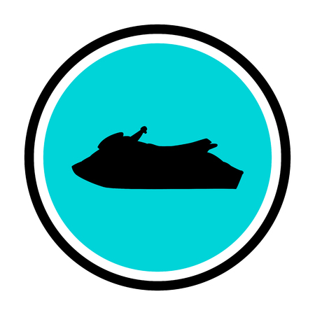 moto acuatica: ilustración iconos de chorro de agua de esquí aislados sobre fondo blanco.