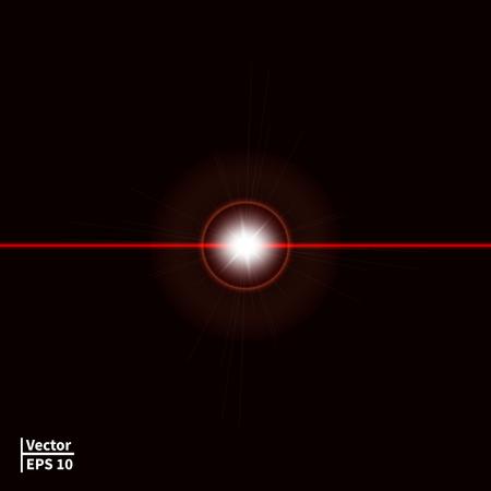illustration d'un faisceau laser rouge avec un éblouissement. Laser ray sur un fond sombre. Glowing boule rouge. Vecteurs