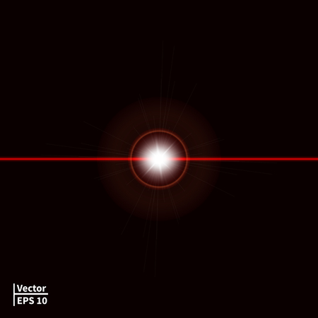 laser light: illustration of a red laser beam with a glare. Laser ray on a dark background. Glowing red ball.