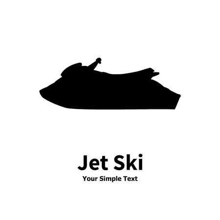 illustration of a isolated silhouette of a water jet ski on a white background.