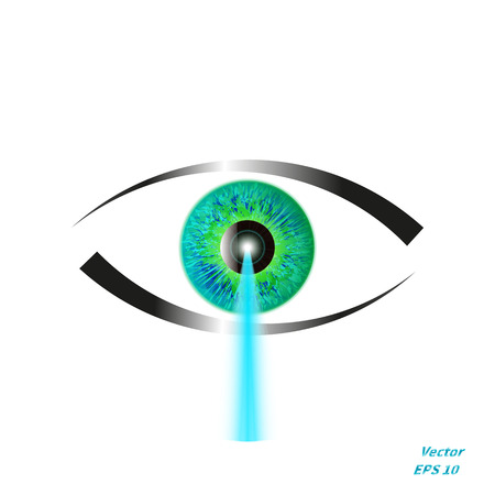reformation: illustration of a concept of laser vision correction. Icon eye with a blue laser beam.