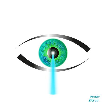 ilustración de un concepto de corrección de la visión con láser. Icono del ojo con un haz de láser azul. Ilustración de vector