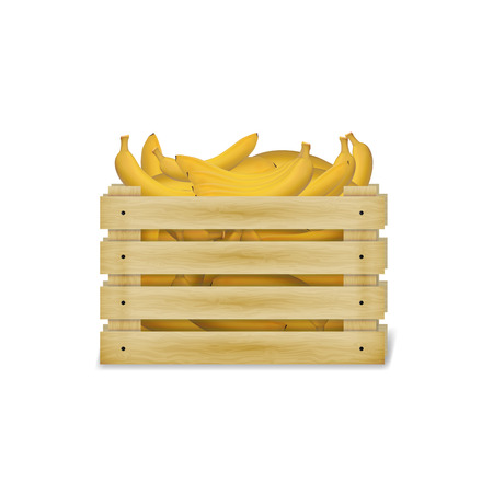 illustration of wooden box with bananas. Wooden food crate isolated on a white background.