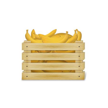 バナナと木製の箱のイラスト。木製食品クレートは、白い背景で隔離。  イラスト・ベクター素材