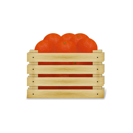 wooden crate: illustration of wooden crate with oranges and tangerines. Wooden food box isolated on a white background.