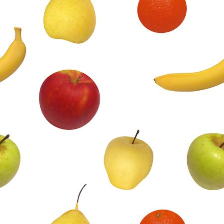 illustration seamless pattern of fruit. Isolated fruit on white background. 일러스트