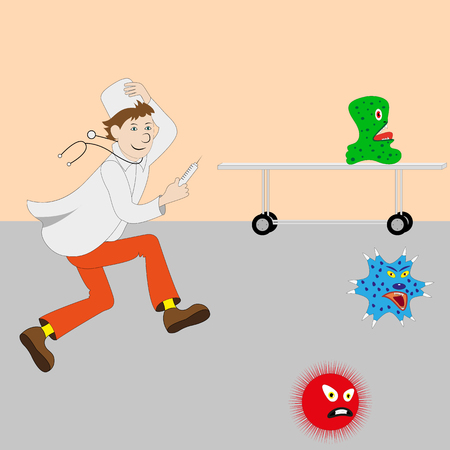 jab: Vector illustration of cartoon cute doctor with a syringe running for germs, viruses, bacteria. Medical doctor in a white coat and a white cap.