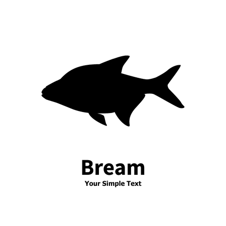 bream: Vector illustration silhouette of fish bream. Isolated on white background.