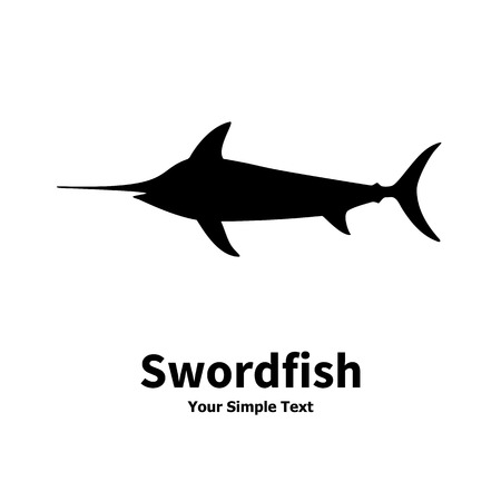 fish form: Vector illustration silhouette of swordfish. Isolated on white background. Illustration