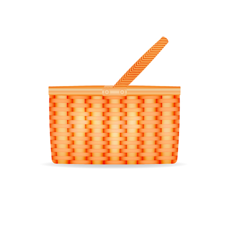 halm: Vector illustration of a straw wicker basket. Isolated on white background.