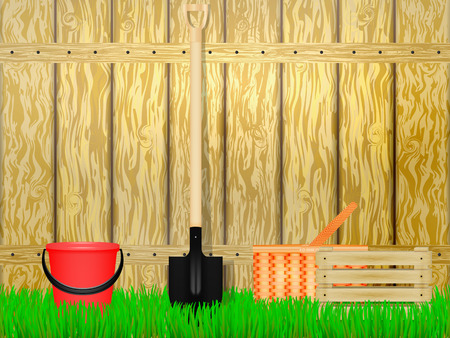 Vector illustration of a garden plot with a fence and farm tools. Shovel, wicker basket, bucket and fruit box on green grass. Preparing for the harvest.