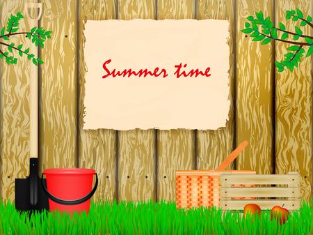 show bill: Ilustraci�n vectorial de una zona suburbana con un cartel en la valla. El horario de verano. Tiempo a la casa de verano. Vectores