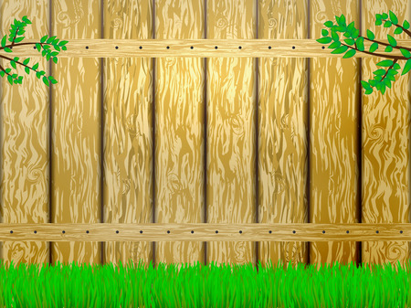 cottage fence: Vector illustration of yellow wooden fence and green grass. Branch with green leaves. Illustration