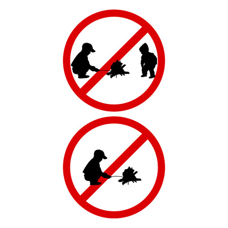 kindle: Vector illustration of a prohibition sign Kindle Fire. The danger to children playing with fire. Isolated on white background. It is forbidden to light fires for children.