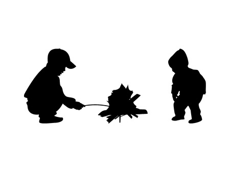 Vector illustration silhouette of kids sitting around the campfire. Isolated on white background. Two children at the bonfire. Çizim