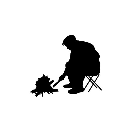 fellows: Vector illustration of a silhouette of a man sitting by the fire. Isolated on white background. Man ignites bonfire.