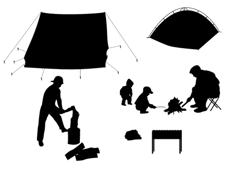 junket: Vector illustration silhouette of outdoor recreation with children. Camping with children. Isolated on white background. Silhouette of people with tents and barbecue.
