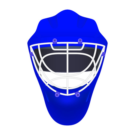 turnout: Vector illustration of blue goalie hockey helmet with a white metal protection. Isolated on white background. Goalkeeper mask. Icon Sport hockey. Plastic head protection.