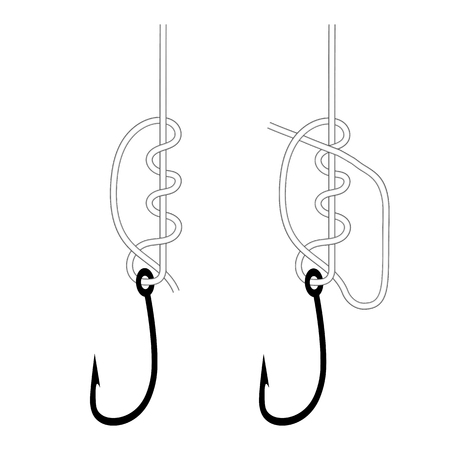 Vector illustration of a simple knot on a fishing hook. Isolated on white background. Node clinch. Illustration