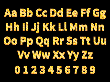majuscule: Vector illustration volumetric gold letters on a black background. English alphabet with numbers. Large and small letters. 3d letter.