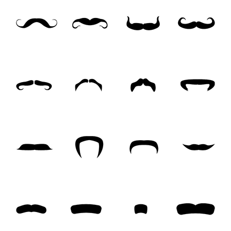 virile: Vector illustration set of silhouettes of men mustache. Isolated on white background. Different types of mustaches.