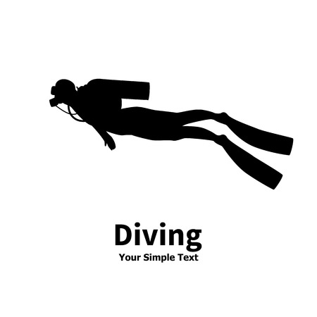 scubadiving: Vector illustration of a isolated silhouette of diver on a white background. Man underwater in a diving suit. A scuba divers with an inscription. Illustration