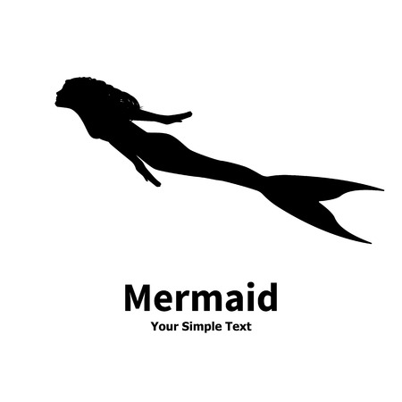 seamaid: Vector illustration of a mermaid silhouette isolated on white background. Sea nymph with an inscription.