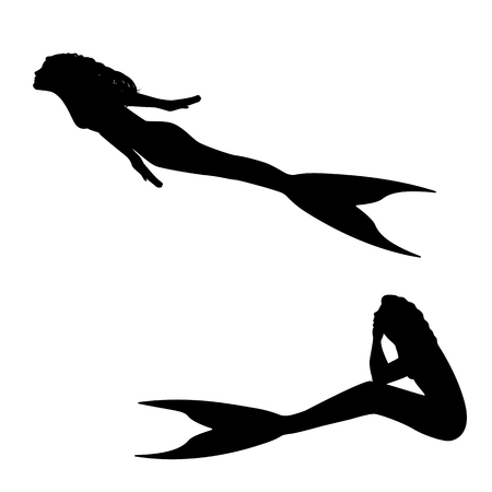 undine: Vector illustration of a mermaid silhouette isolated on white background.