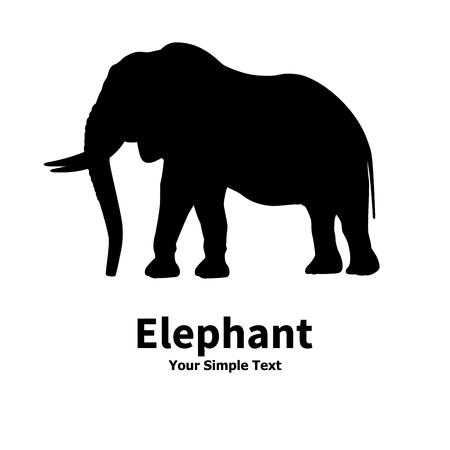 illustrazione vettoriale di una silhouette di elefante isolato su sfondo bianco. Grande elefante animale con le zanne.