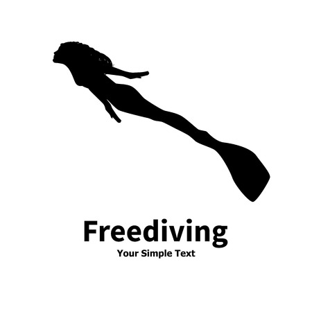 freediving: Vector illustration of a isolated silhouette of a woman diver on a white background. Freediving women.