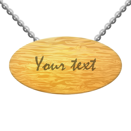 slat: Vector illustration of isolated wooden plate on a white background. Wooden plaque with an inscription.