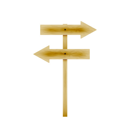 ligneous: Vector illustration wooden direction arrows. Isolated white background. Wooden board with a direction. Wooden signpost.
