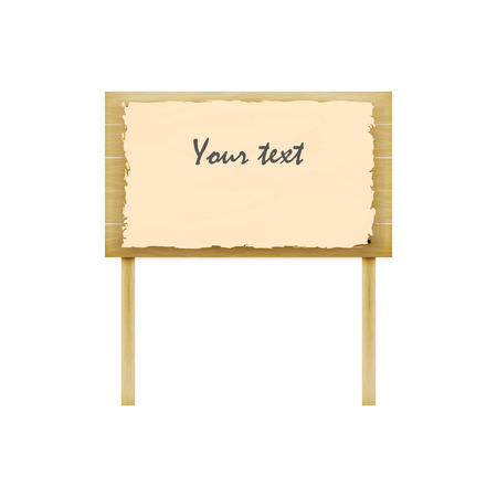 slat: Vector illustration of wooden billboard. Isolated white background. A wooden plaque with the inscription. Notice board. Illustration