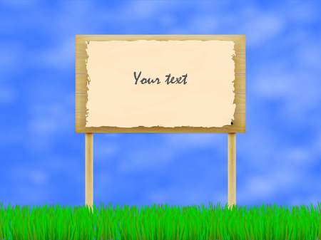 wooden plaque: Vector illustration of wooden billboard on the background of sky and green grass. A wooden plaque with the inscription. Notice board.