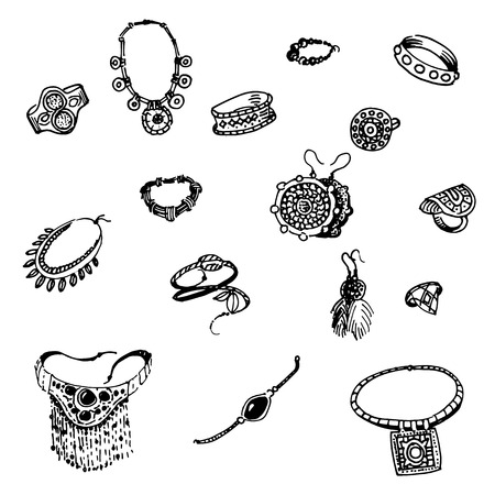 bijouterie: Vector illustration of a variety of decorations. Doodle bijouterie. On an isolated white background. Jewelry hand-drawn.