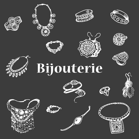 necklet: Vector illustration of a variety of decorations. Doodle bijouterie. Jewelry hand-drawn. Hand drawing female jewelery.