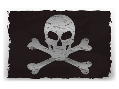Vector illustration of a black pirate flag isolated on white background. White skull with two bones on black torn rag.