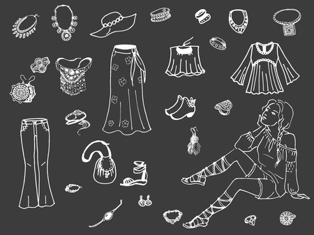 craze: Vector illustration of female clothing and jewelry. Fashion women clothes on dark background.