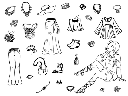 craze: Vector illustration of female clothing and jewelry. On an isolated white background. Fashion women clothes.