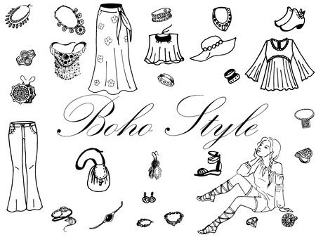 craze: Vector illustration of female clothing and jewelry in the boho style. On an isolated white background. Fashion women clothes. Illustration