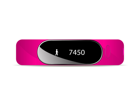 Vector illustration of a rubber bracelet for fitness exercise. Isolated on white background. Fitness bracelet with an electronic dial.