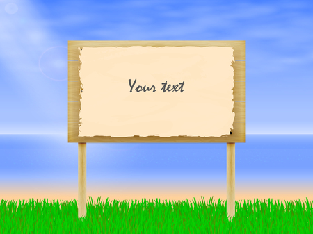 wooden plaque: Vector illustration of wooden billboard on the background of beach and green grass. A wooden plaque with the inscription. Notice board. Illustration