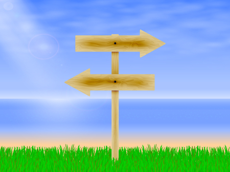 ligneous: Vector illustration of wooden arrows directing the way to the beach background with green grass. Wooden board with a direction. Wooden signpost.